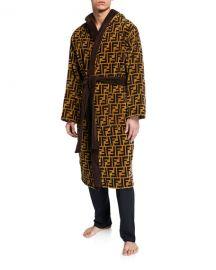 Fendi Men  x27 s Logo Jacquard Hooded Robe at Neiman Marcus