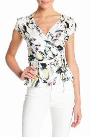 FiRE Floral Print Faux Wrap Women\'s Surplice Blouse at Amazon