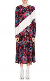 Fire Flower-Print Silk Midi-Dress at Barneys