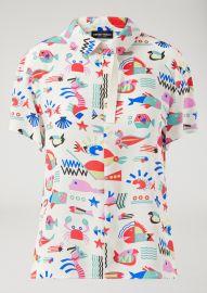 Fish-pattern silk blouse at Armani