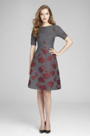 Fit  Flare Dress with Floral Appliques by Teri Jon by Rickie Freeman at Teri Jon