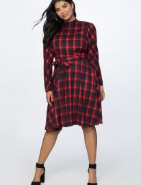 Fit and Flare Plaid Dress by Eloquii at Eloquii