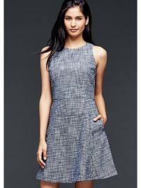 Fit and flare flute dress at Gap