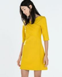 Fitted Dress with Crossover Neckline at Zara