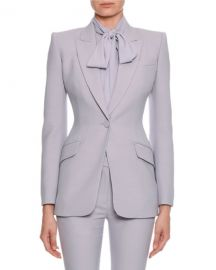 Fitted Flap-Pocket Wool-Silk Blazer by Alexander McQueen at Bergdorf Goodman
