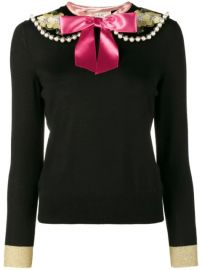 Fitted Jumper with Floral Embroidery and Pearl Embellishment at Farfetch