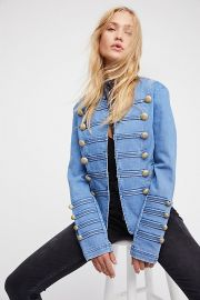 Fitted Military Denim Jacket at Free People