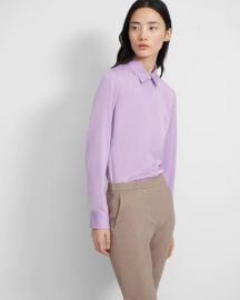 Fitted Shirt In Bright Lilac at Theory