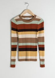 Fitted Striped Rib Top at & Other Stories