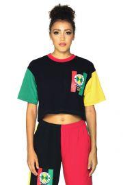 Flag Logo Color Block Crop T-Shirt by Cross Colours at Cross Colours