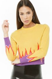 Flame-Trim Knit Sweater at Forever 21