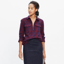 Flannel zip front popover at Madewell