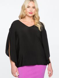 Flare Sleeve Bow Back Top at Eloquii