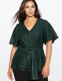 Flare Sleeve Tie Waist Faux Leather Top at Eloquii
