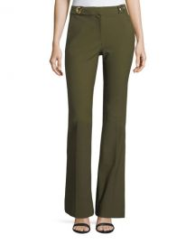 Flared Crepe Trousers with Grommet Details at Neiman Marcus