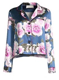 Fleur du Mal - Floral-Print Silk Satin Pajama Top at Saks Fifth Avenue