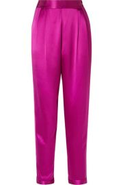 Fleur du Mal - Grosgrain-trimmed silk-satin tapered pants at Net A Porter