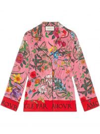 Flora Print Silk Shirt by Gucci at Farfetch