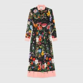 Flora Snake Print Silk Dress by Gucci  at Gucci