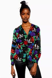 Floral Print Button Front Blouse at Topshop