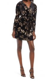 Floral Print Long Sleeve Faux Wrap Minidress at Nordstrom