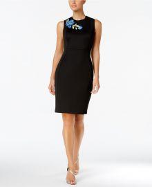 Floral-Applique Scuba Sheath Dress by Calvin Klein at Macys