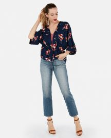 Floral Cinched Waist Kimono Top at Express
