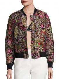 Floral Cloque Bomber Jacket at Saks Off 5th