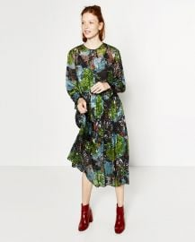 Floral Devore Dress x at Zara