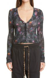 Floral Distressed Crop Cashmere Cardigan at Nordstrom