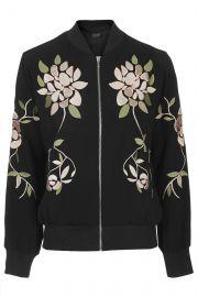 Floral Embroidered Bomber Jacket at Topshop