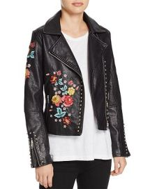 Floral-Embroidered Faux Leather Biker Jacket at Bloomingdales