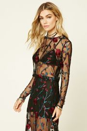 Floral Embroidered Mesh Top   Forever 21 - 2000215297 at Forever 21