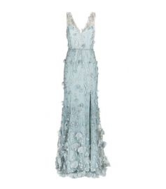 Floral Embroidered Plunging Gown by Marchesa Notte at Harrods