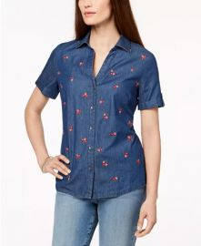 Floral-Embroidered Short-Sleeve Shirt at Macys