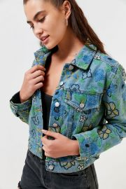 Floral Embroidered Trucker Jacket by Urban Outfitters at Urban Outfitters