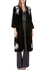 Floral Embroidered Velvet Kimono Coat at Amazon