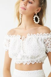 Floral Eyelet Lace Crop Top by Forever 21 at Forever 21