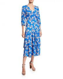 Floral Faux Wrap Asymmetric Ruffle Midi Dress by Eliza J at Last Call