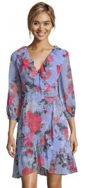 Floral Faux Wrap Dress with Three Quarter Sleeves at Adrianna Papell