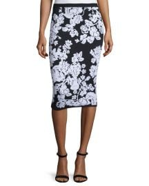 Floral Fitted Midi Skirt at Neiman Marcus