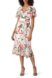 Floral Flutter Sleeve Dress by Adrianna Papell at Rent The Runway