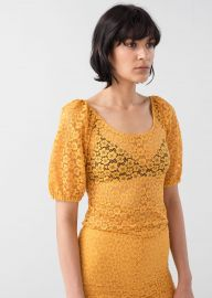 Floral Lace Puff Sleeve Top at & Other Stories