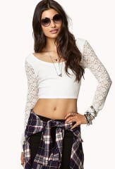 Floral Lace-Trimmed Crop Top at Forever 21