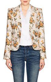 Floral Linen Canvas Single-Button Blazer at Barneys