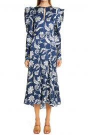 Floral Long Sleeve Silk Midi Dress at Nordstrom