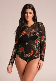 Floral Mesh Bodysuit by Deb shops at Deb Shops