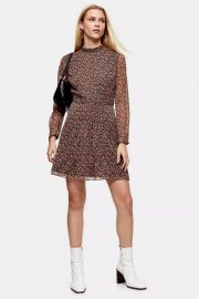 Floral Pintuck Mini Tea Dress at Topshop