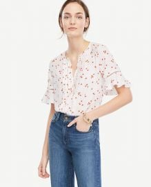 Floral Pintucked Flutter Sleeve Top at Ann Taylor