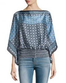 Floral-Print Boat-Neck Blouse  Blue Contrast Flower at Last Call
